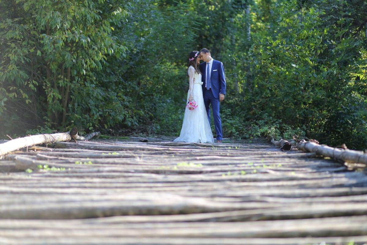 wooden, old, bridge, groom, bride, girl, wood, couple, nature, love