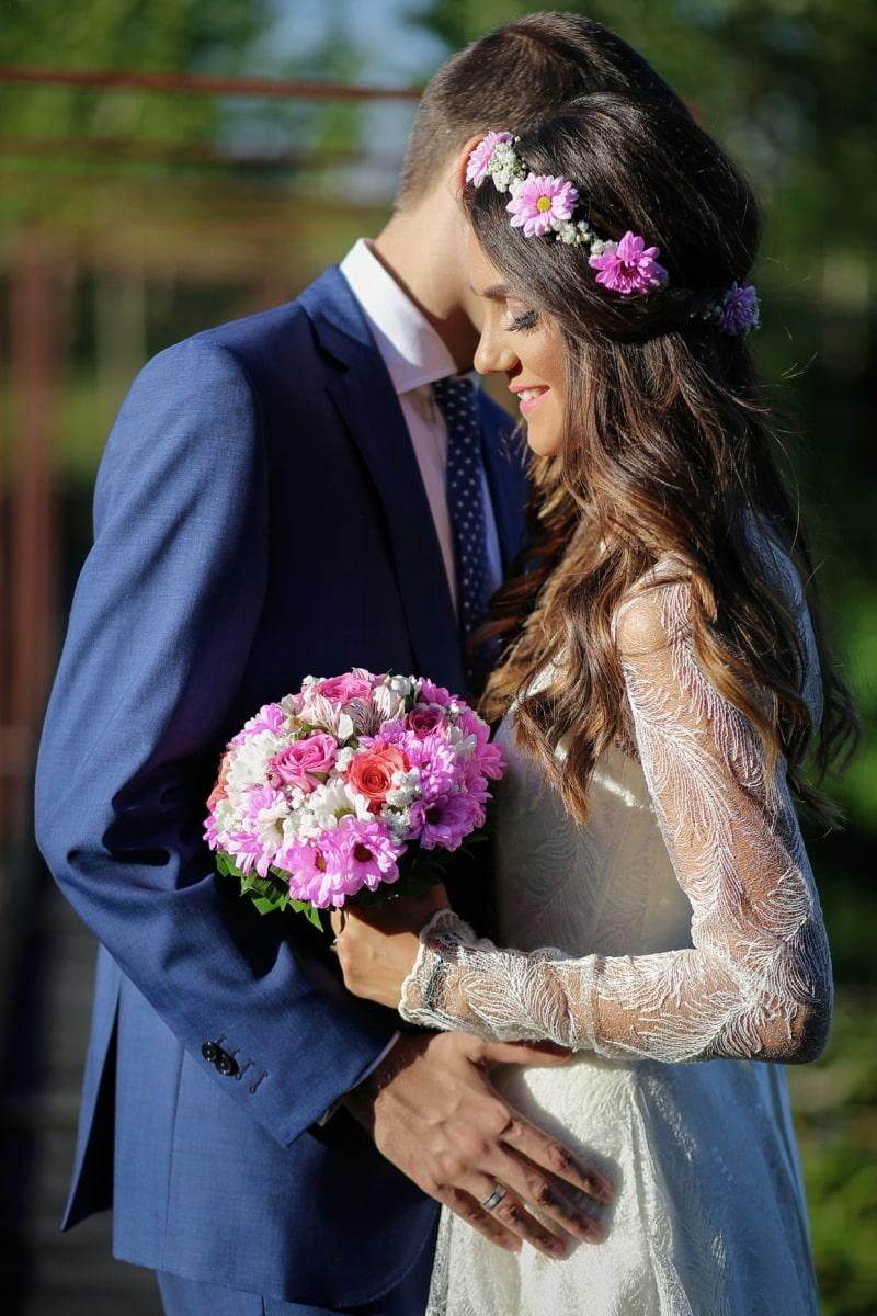 vestito da sposa, sposa, acconciatura, bouquet da sposa, sorriso, verticale, matrimonio, vestito, tempo libero, amore