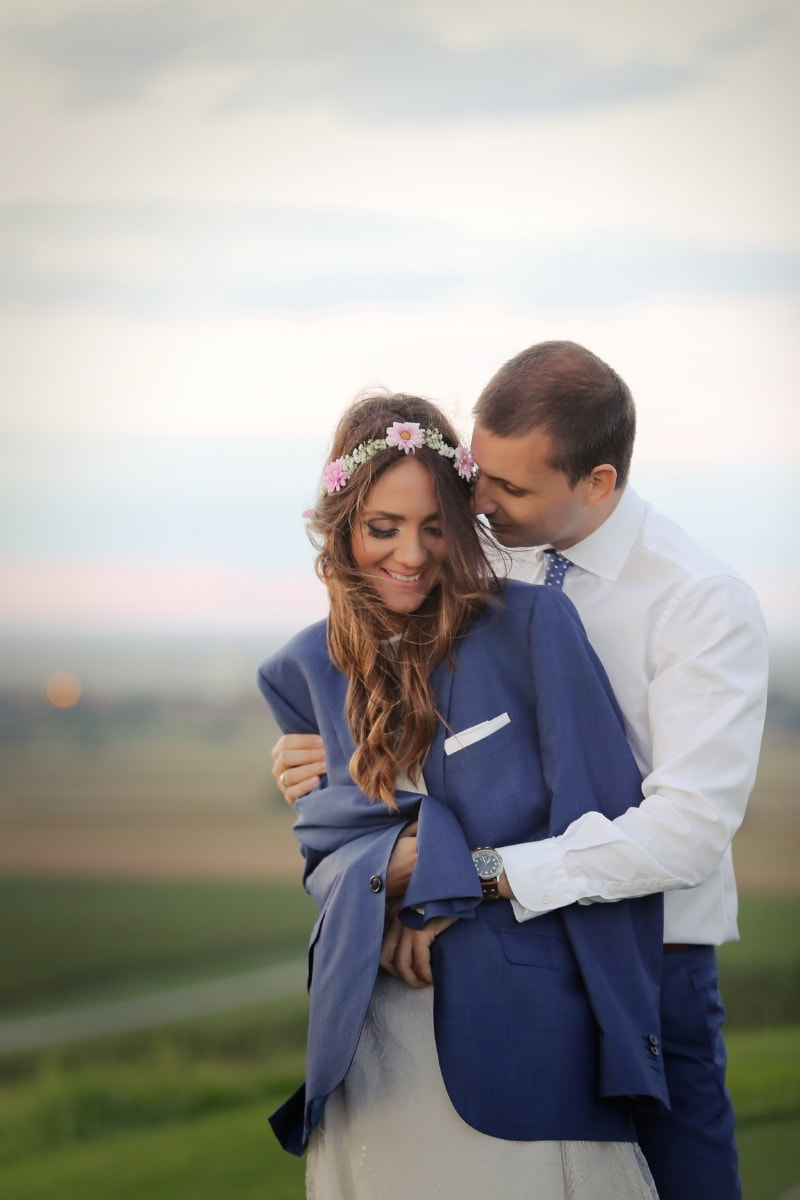 ภรรยา, สามี, กอด, ความรัก, เลดี้, ยืน, สุภาพบุรุษ, เหมาะสมกับ, คน, ผู้หญิง