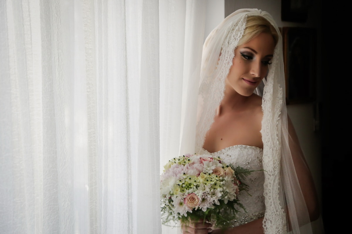 blonde, magnifique, robe de mariée, voile, Jolie fille, la mariée, robe, serviette, mariage, Portrait