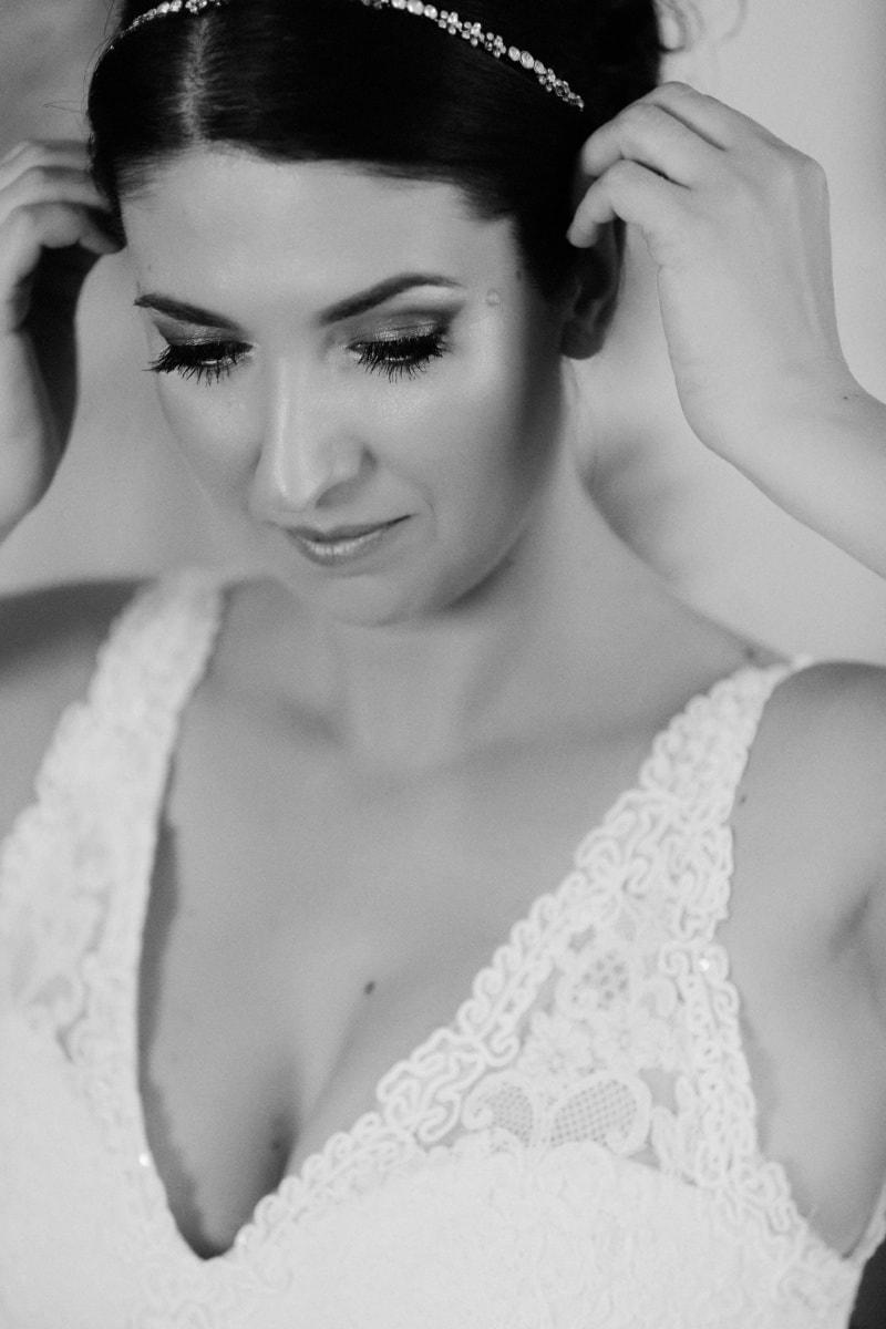 Coiffure, la mariée, magnifique, cils, visage, Portrait, peau, yeux, mode, mariage