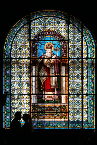 stained glass, russian, church, window, fine arts, Byzantine, husband, wife, embrace, art
