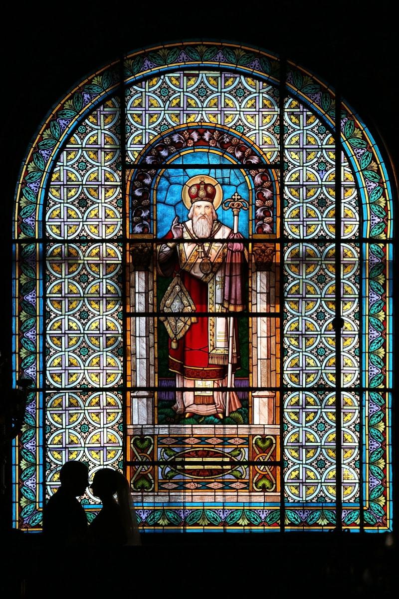 målat glas, Ryska, kyrkan, fönster, bildkonst, Bysantinska, man, Fru, omfamning, konst