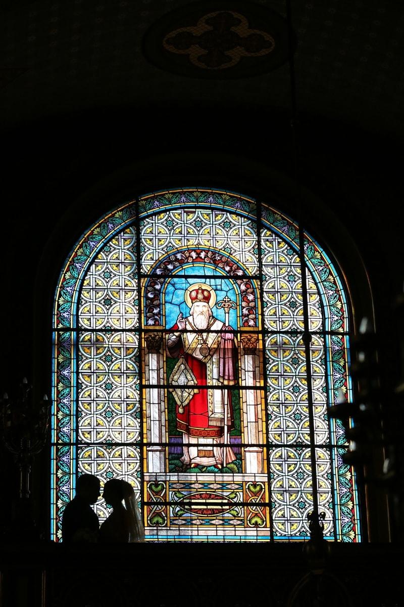 religious, darkness, shadow, stained glass, wedding, marriage, altar, prayer, window, religion