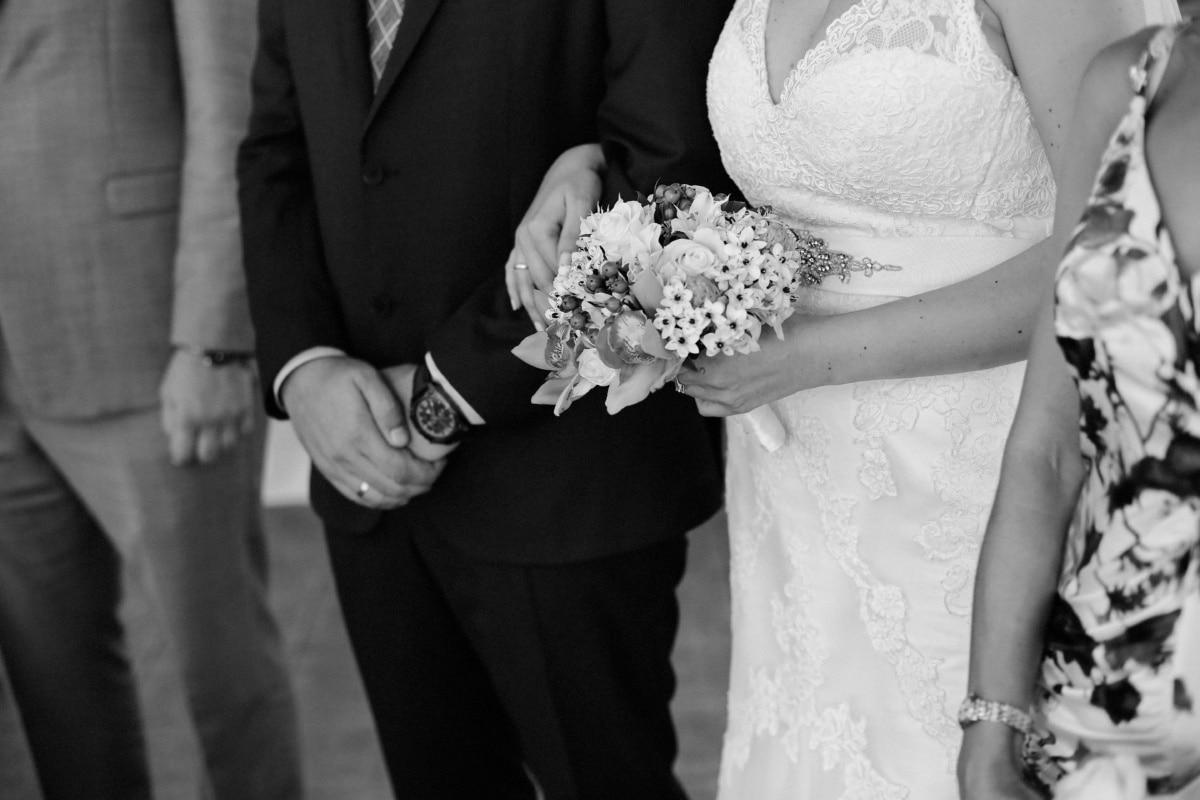 best man, wedding dress, wedding bouquet, wedding, ceremony, black and white, standing, people, marriage, bouquet, dress