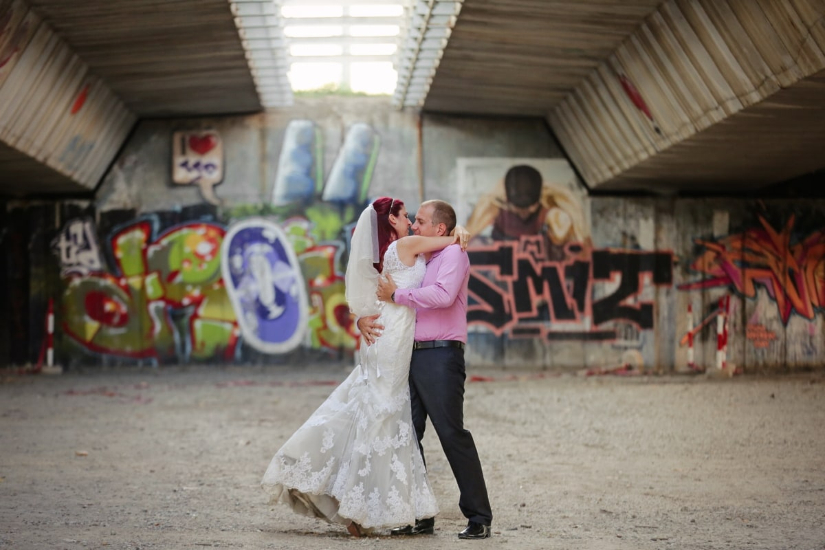 underneath, bridge, hugging, embrace, groom, kiss, bride, married, marriage, wedding