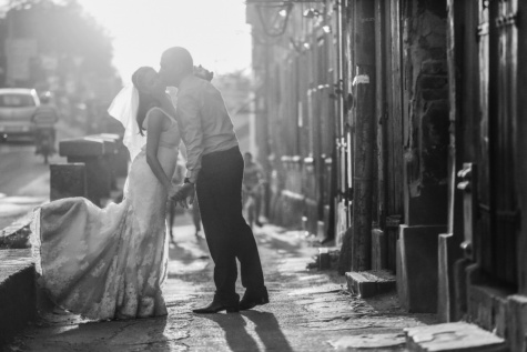 sunshine, love, bride, groom, monochrome, street, people, wedding, woman, man