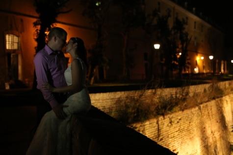 Bayan, adam, öpücük, gece, Hisar/kale, Kale, sur, damat, kişi, insanlar