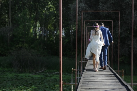 bridge, groom, bride, forest, swamp, man, outdoors, person, lifestyle, people