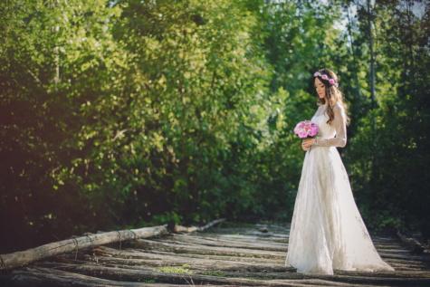 wedding bouquet, wedding dress, groom, bride, wilderness, bridge, nature, wedding, love, bouquet