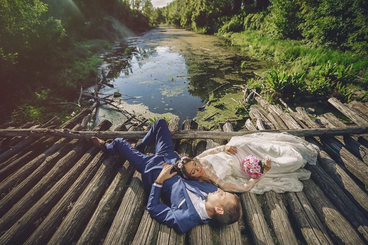 профессиональные, фотография, Свадьба, невеста, болото, жених, деревянные, мост, вода, дерево