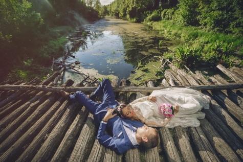 professionele, fotografie, bruiloft, bruid, moeras, bruidegom, houten, brug, water, hout