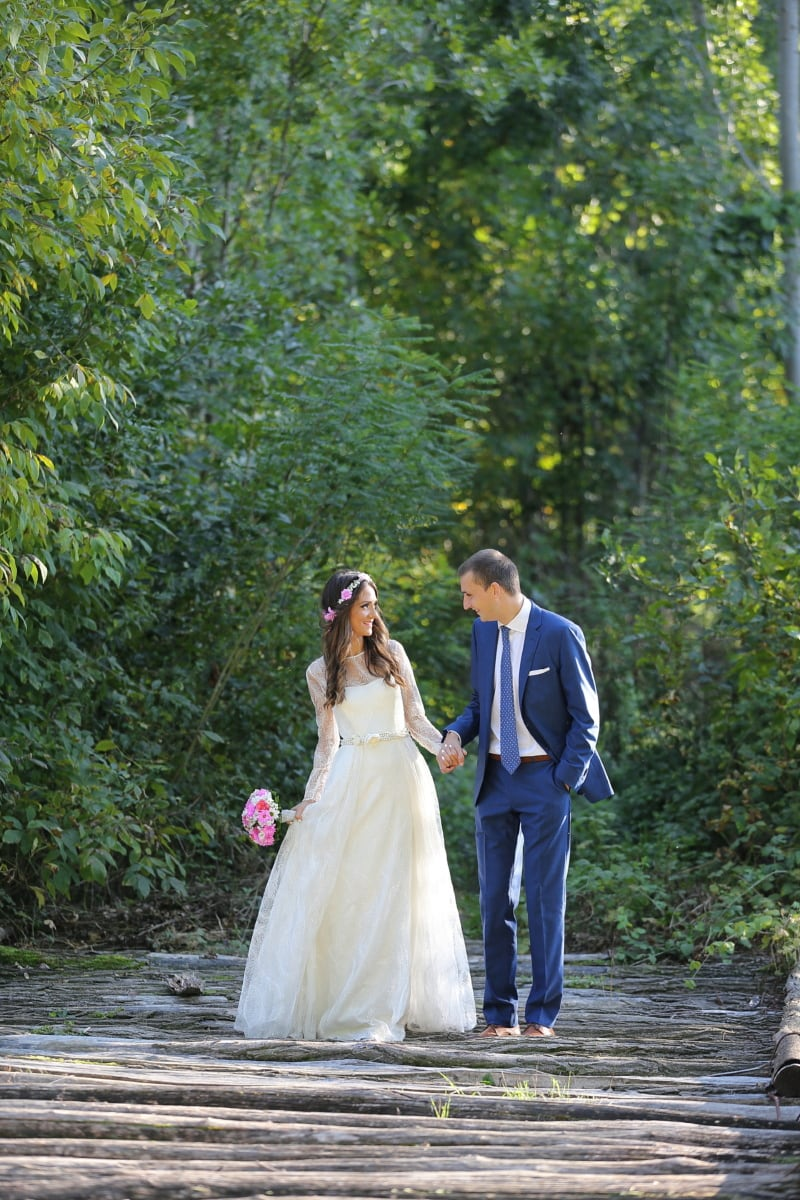 pretty girl, groom, picnic, fashion, suit, forest road, forest path, forest trail, forest, wedding