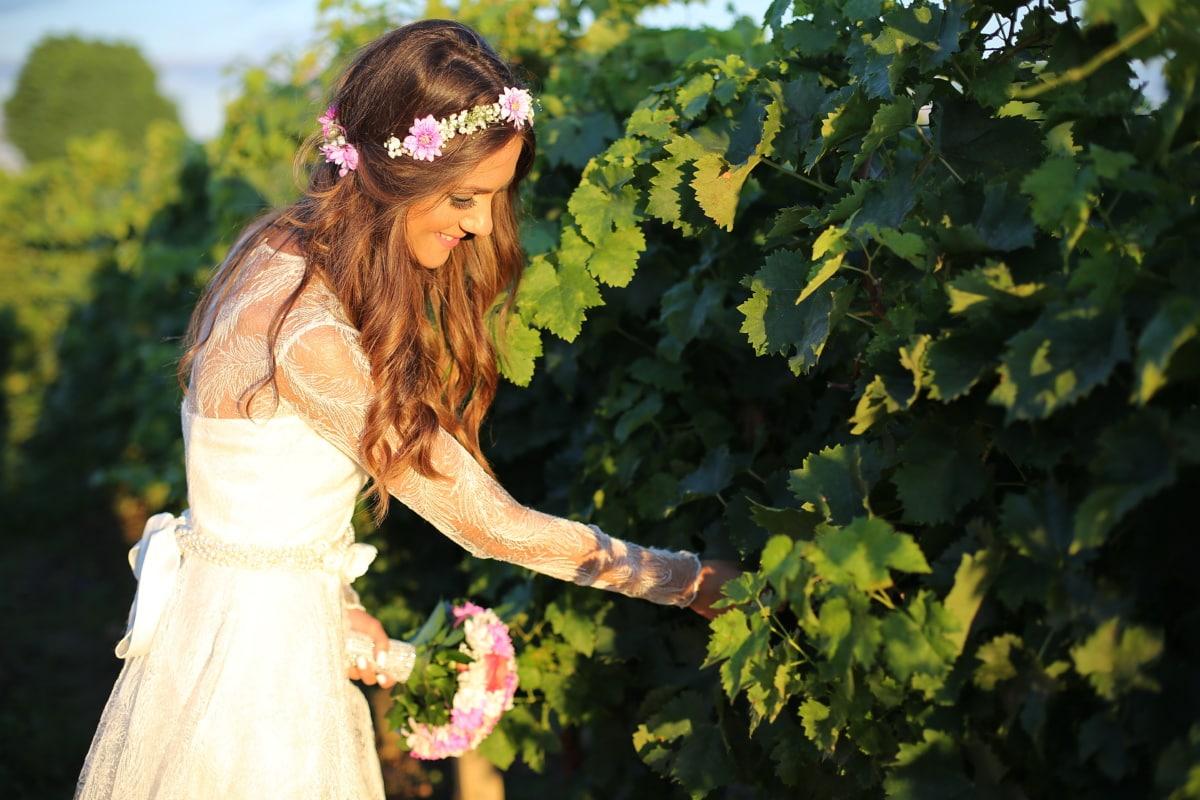Jolie fille, femme, vignoble, bouquet de mariage, belle image, robe de mariée, raisin, personne, Portrait, arbre