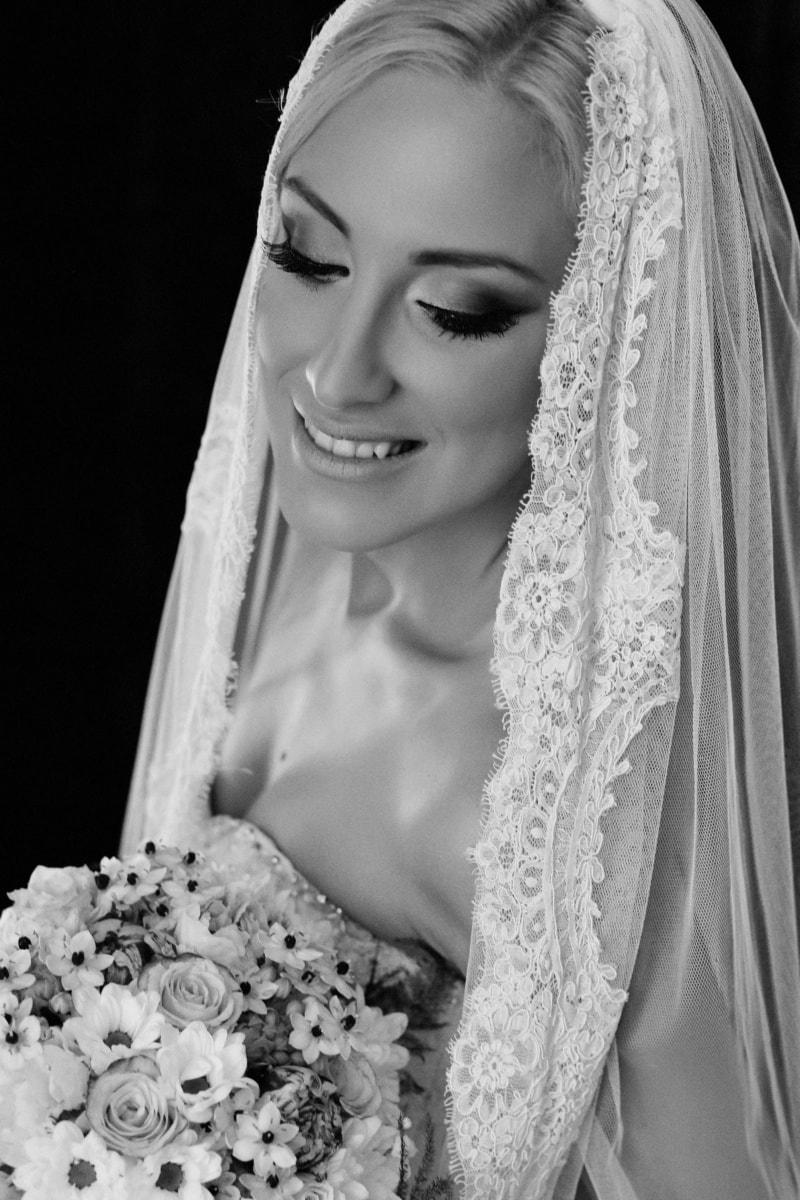 bride, smile, face, posing, wedding dress, black and white, gorgeous, pretty girl, veil, woman