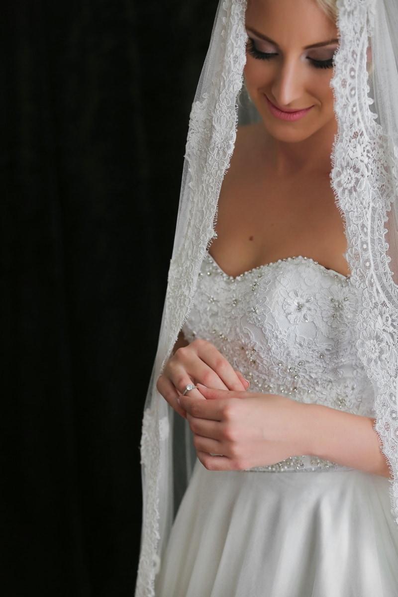 voile, la mariée, innocence, robe de mariée, charme, visage, Jolie fille, Smile, posant, maquillage