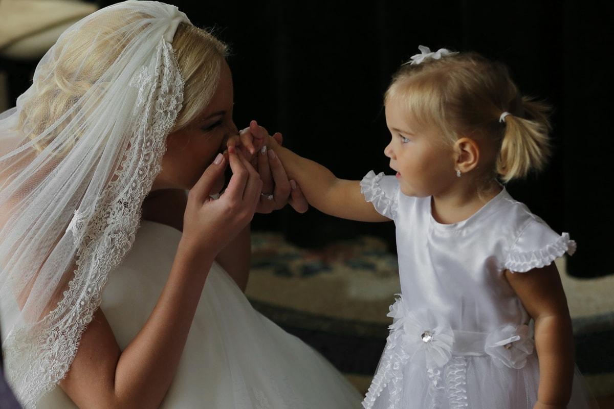 cheveux blonds, la mariée, Jolie fille, enfant, innocence, mariage, amour, personne, bonheur, gens