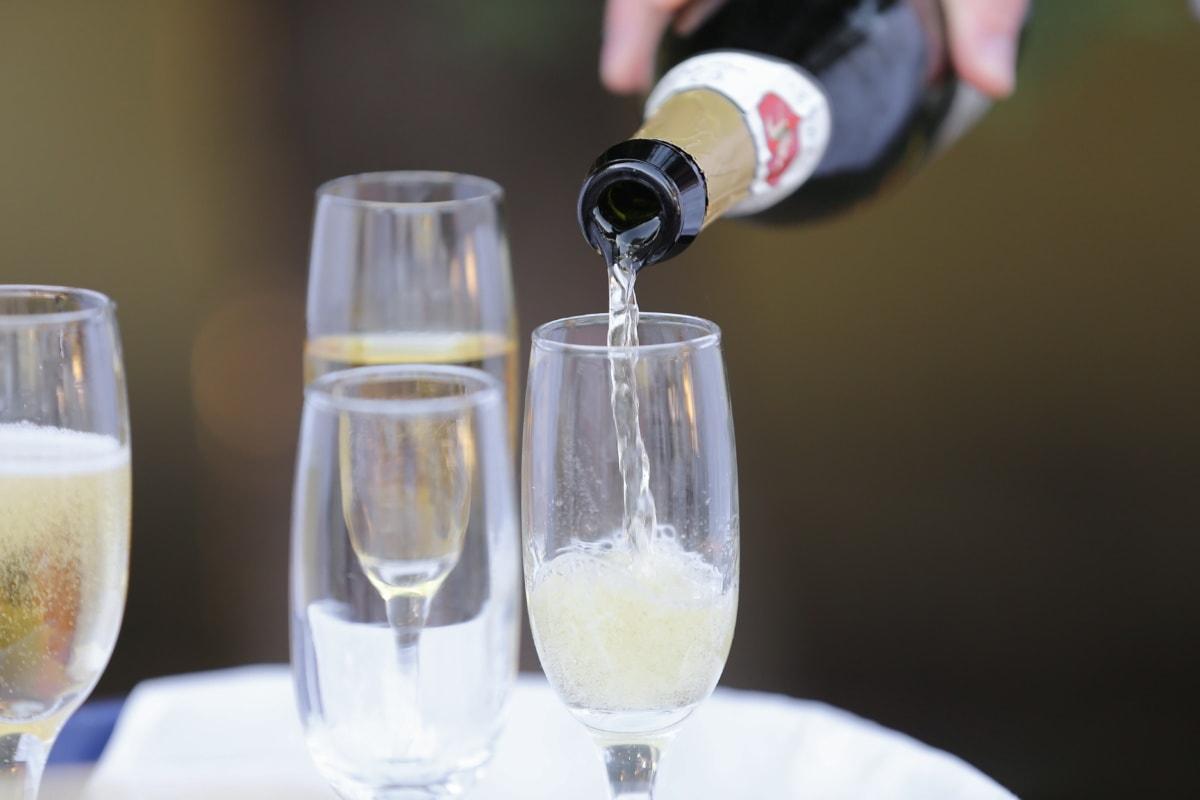 Champagne, vin blanc, alcool, liquide, verre, vin, célébration, boisson, boisson, bouteille
