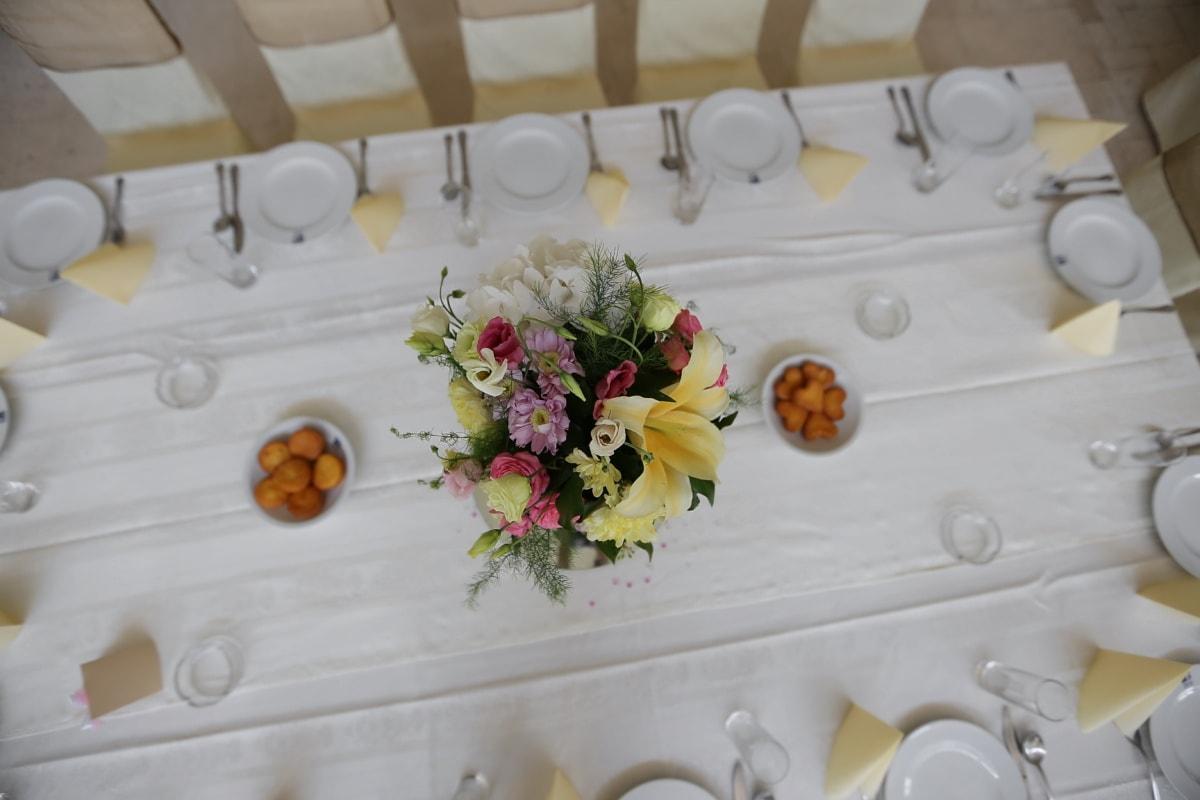 déjeuner, salle à manger, salle à manger, fleur, fleurs, table, porcelaine, bouquet, décoration, dîner