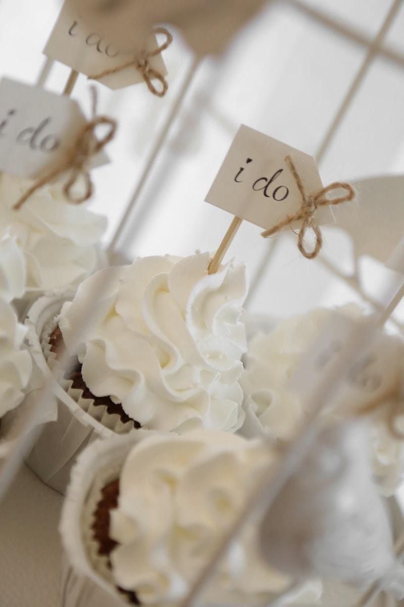Cupcake, Hochzeit, Dekoration, Dessert, Creme, Romantik, Liebe, Zucker, drinnen, traditionelle