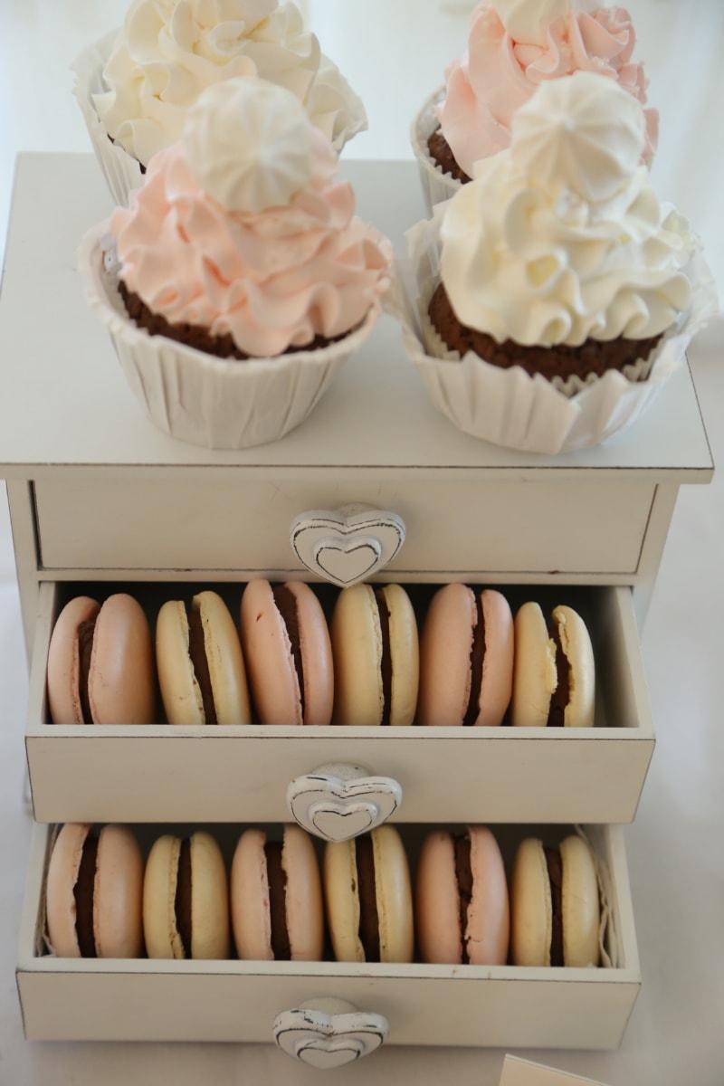 Schublade, aus Holz, Cupcake, sehr lecker, Jahrgang, Essen, romantische, Backen, Schokolade, Frühstück