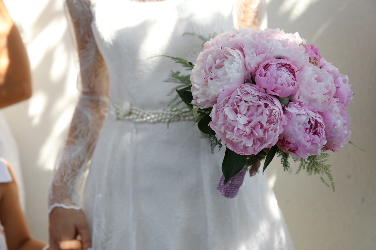 wedding dress, wedding, wedding bouquet, bride, bouquet, flower, marriage, flowers, love, pink