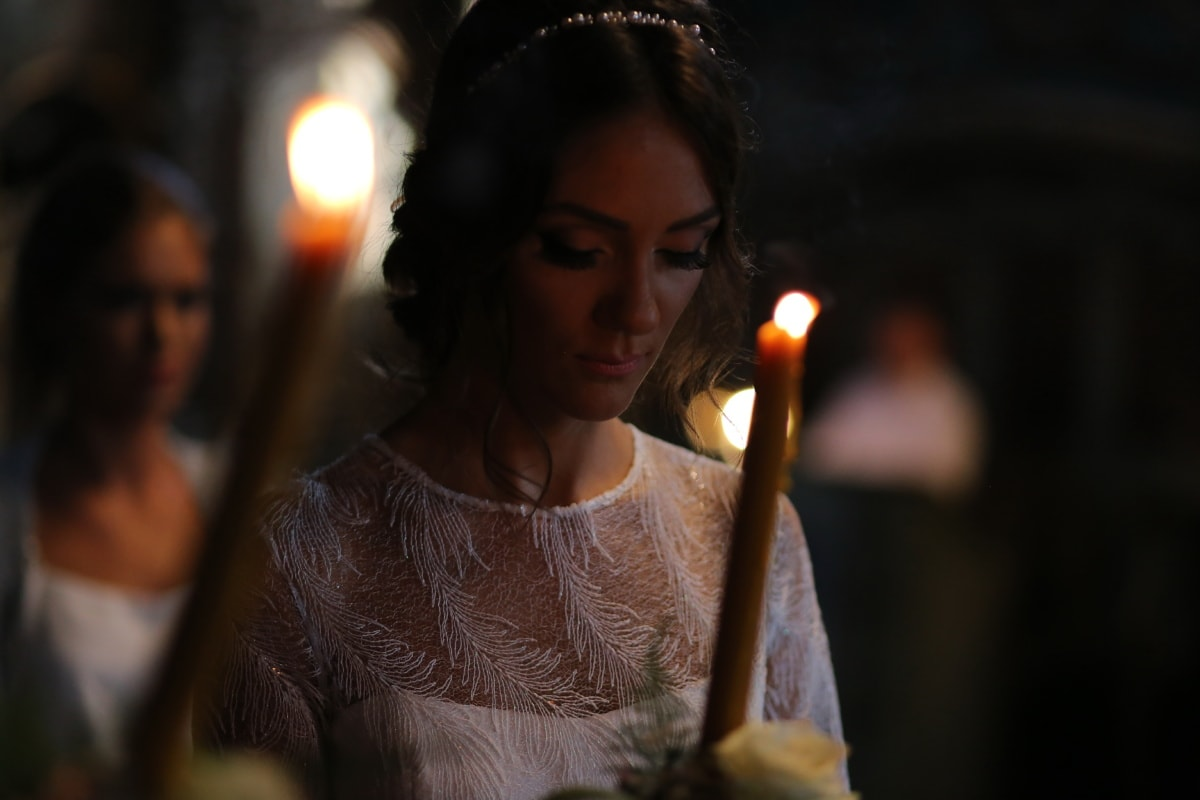candle, candlestick, bride, candlelight, prayer, young woman, light, religion, flame, people