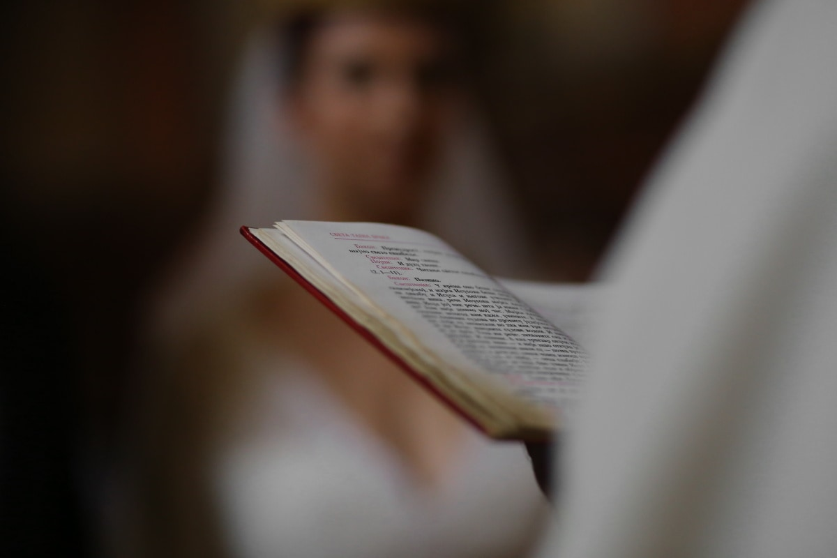 priest, book, wedding, bible, bride, hand, blur, blurry, christian, christianity