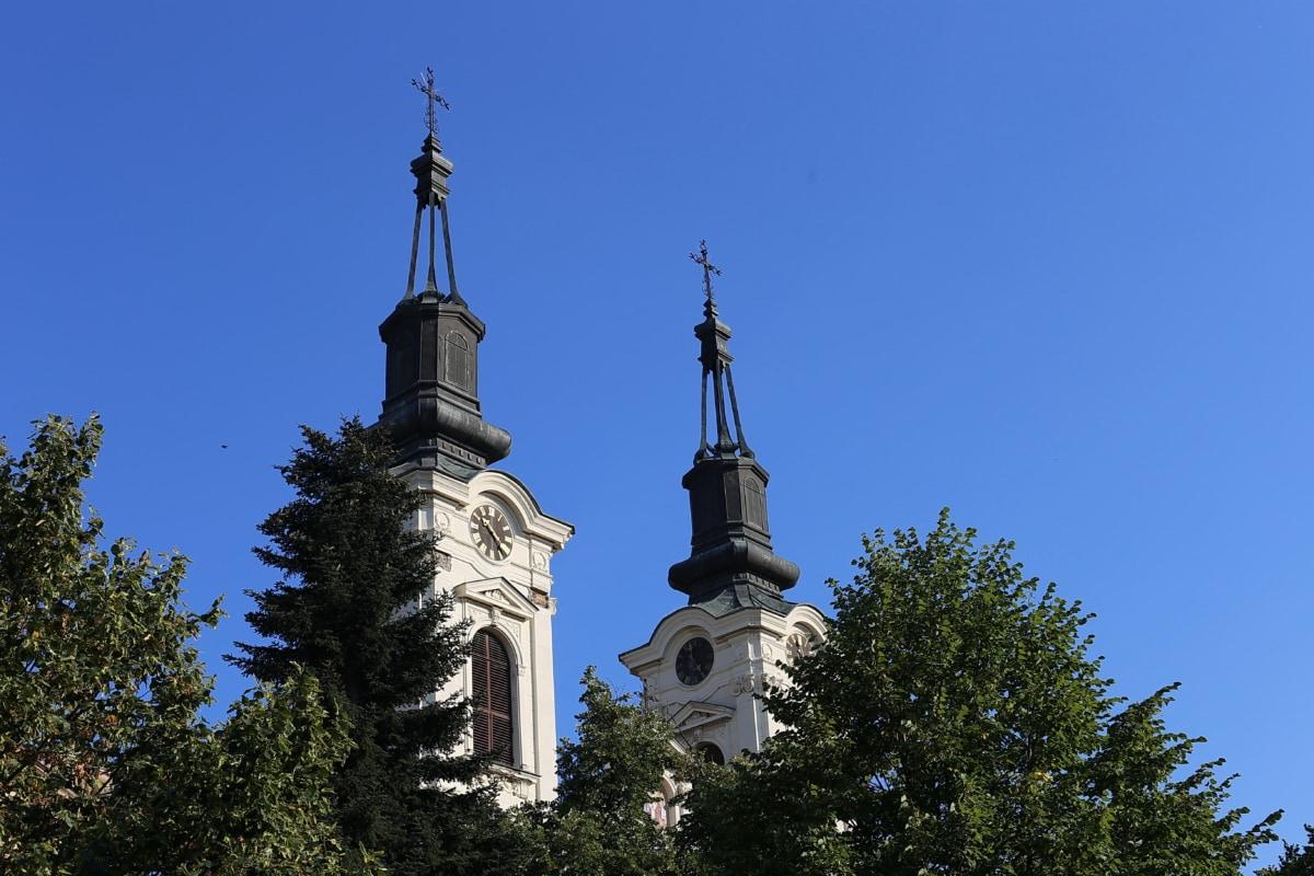 steeple, orthodoxe, Église, horloge analogique, baroque, arbres, cloches, Création de, architecture, dôme