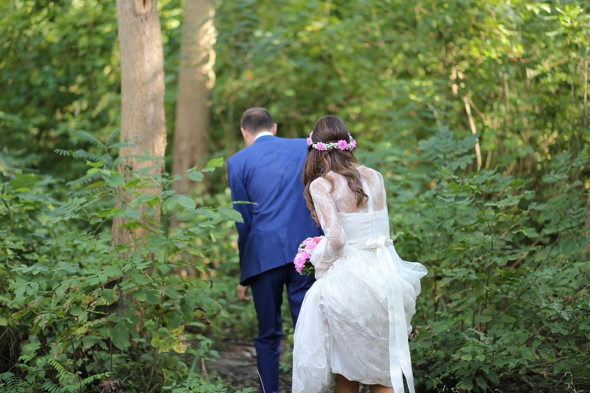 bride, forest, picnic, romantic, romance, groom, love, nature, wedding, marriage