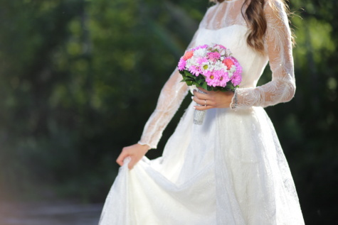wedding dress, dress, elegance, silk, veil, bride, wedding, outdoors, groom, woman