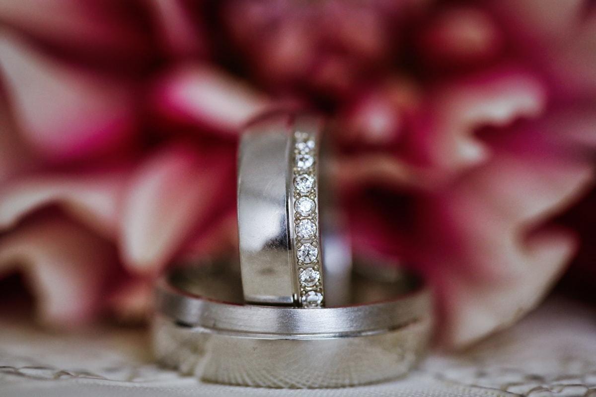 vjenčani prsten, platina, dragulj, nakit, cvijet, vjenčanje, mrtva priroda, ruža, boja, ljubav