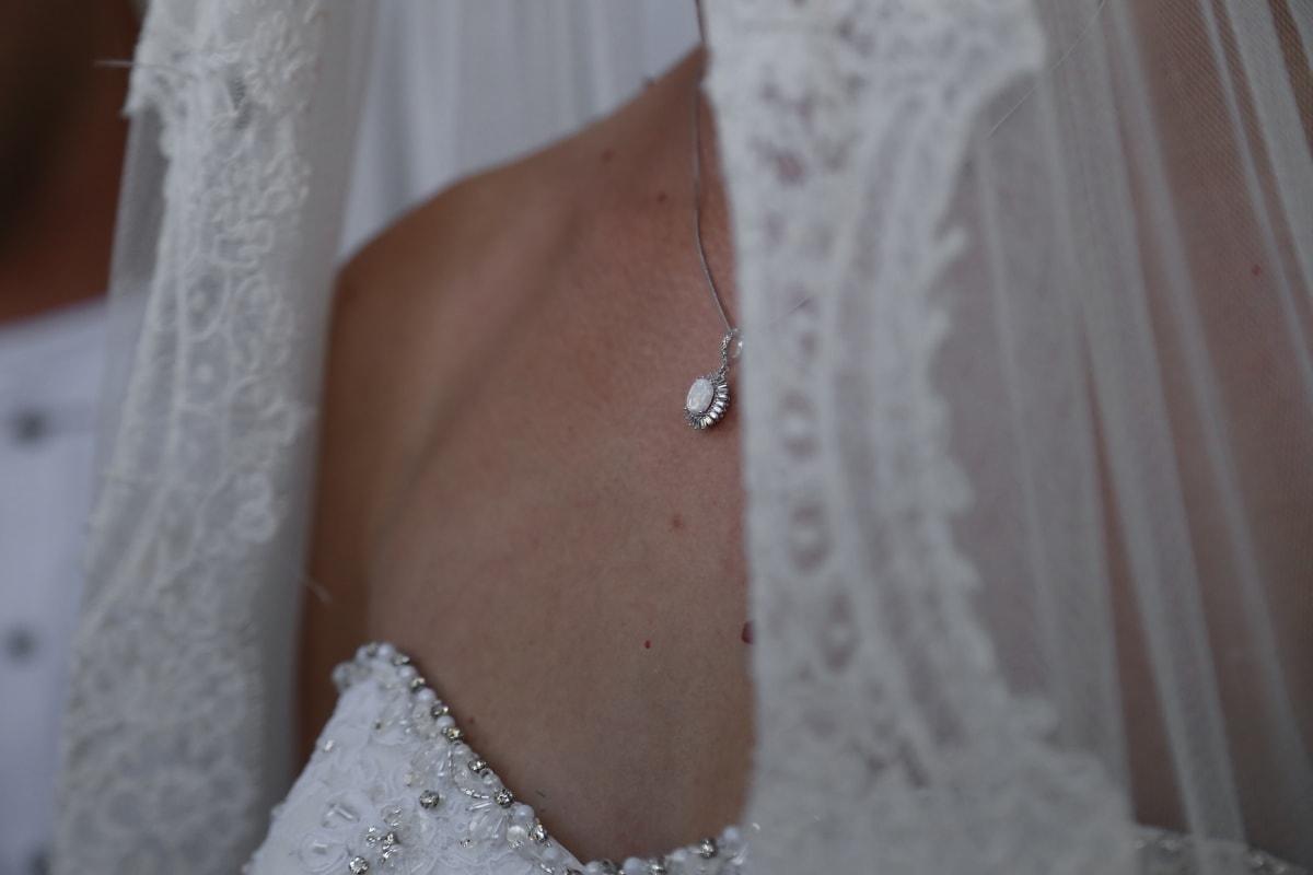 necklace, diamond, jewel, jewelry, wedding, bride, wedding dress, veil, marriage, girl
