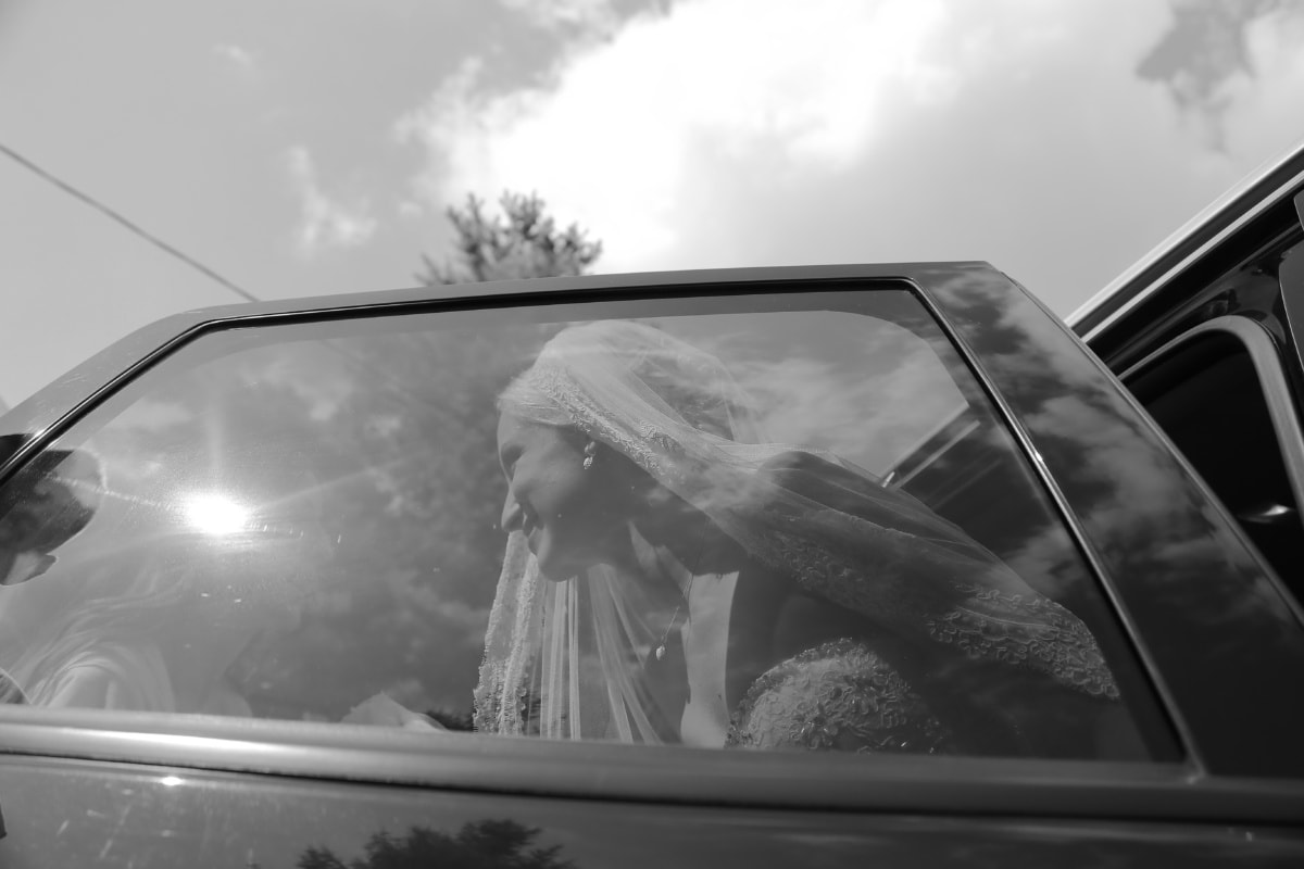 window, car, wedding dress, wedding, bride, monochrome, vehicle, people, street, convertible