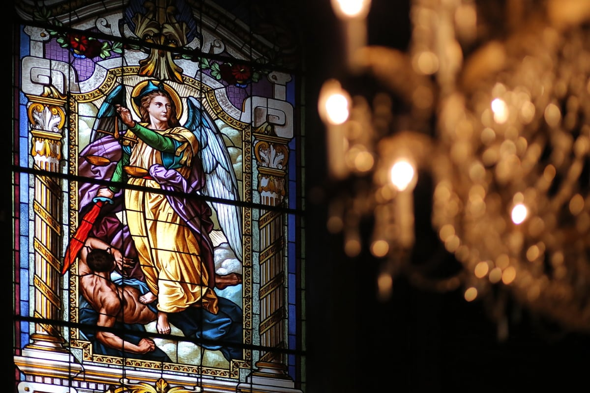 angel, saint, justice, stained glass, colorful, window, fine arts, religion, church, art