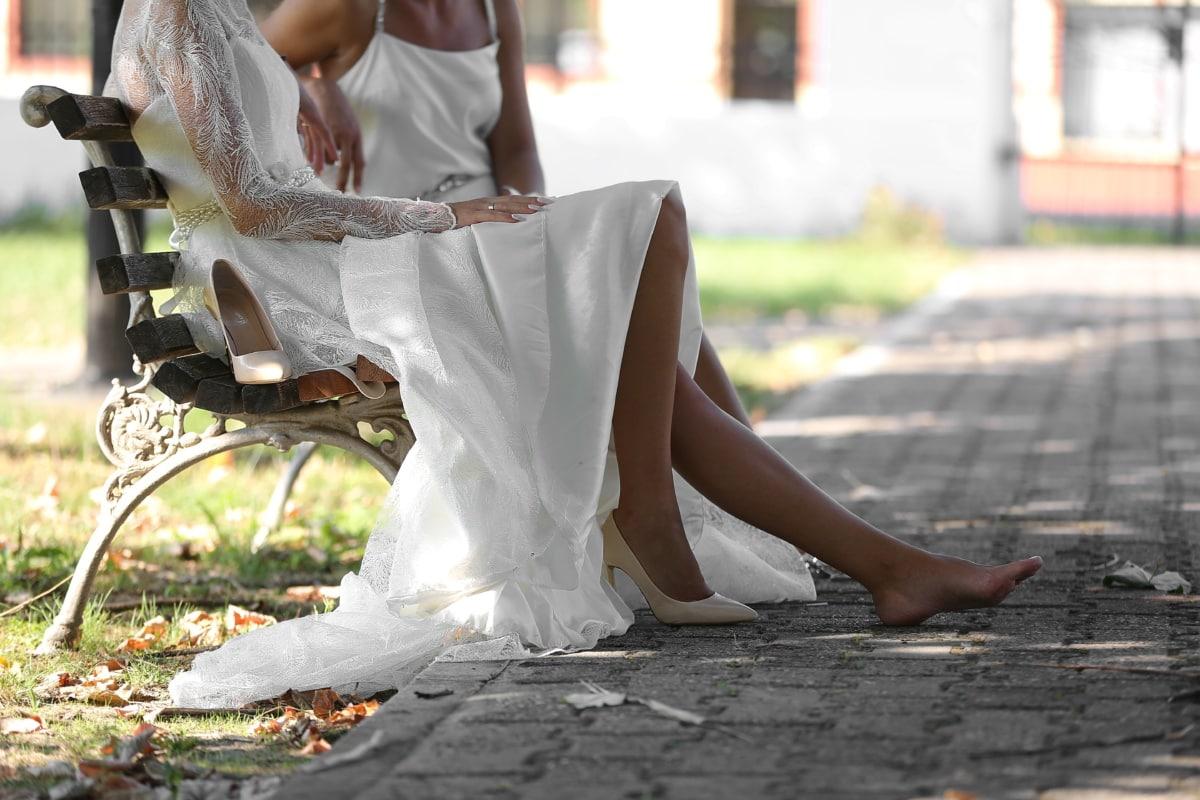Ben, barfot, foten, føtter, eleganse, glamour, bryllupskjole, avslappende, avslapning, bruden