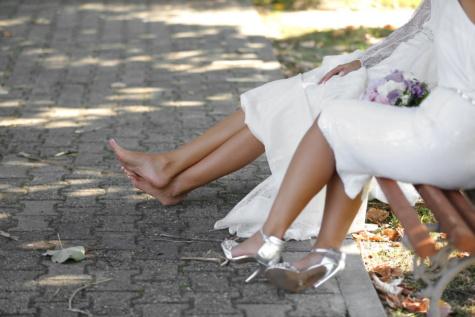 barfot, foten, føtter, Sandal, hæler, bryllup, kvinne, natur, jente, utendørs