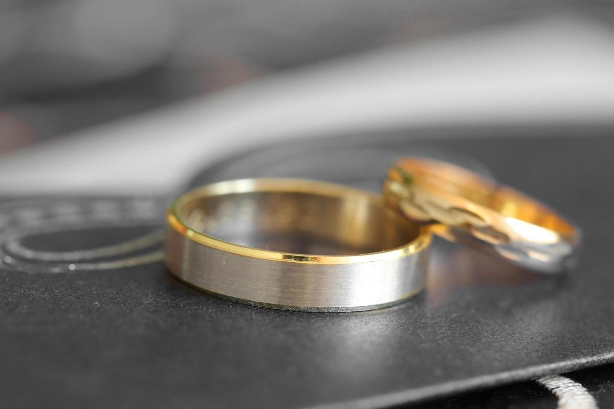 brillante, Or, bague de mariage, bijoux, anneaux, fermer, mariage, nature morte, brouiller, entreprise