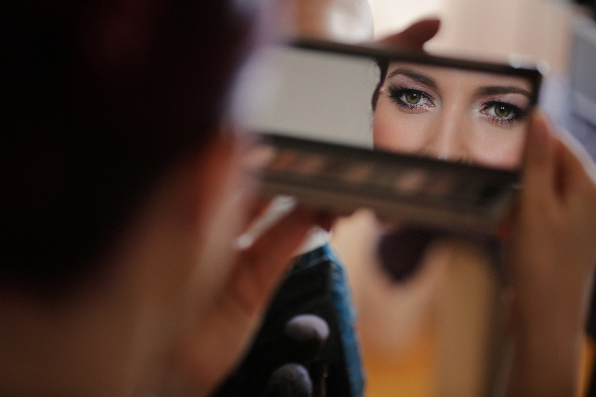 beauty, beautician, cosmetics, reflection, young woman, mirror, eyes, makeup, woman, people