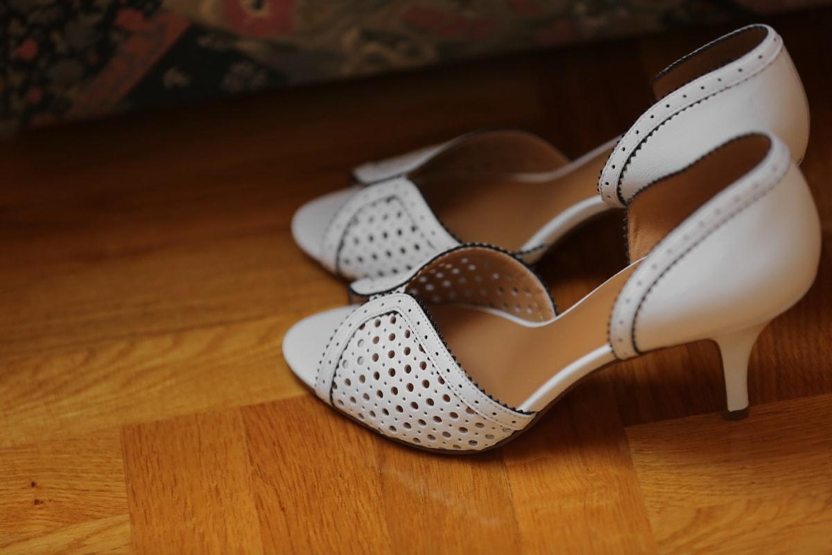 blanc, sandale, fait main, femme, en cuir, chaussures, mode, bois, à l'intérieur, nature morte