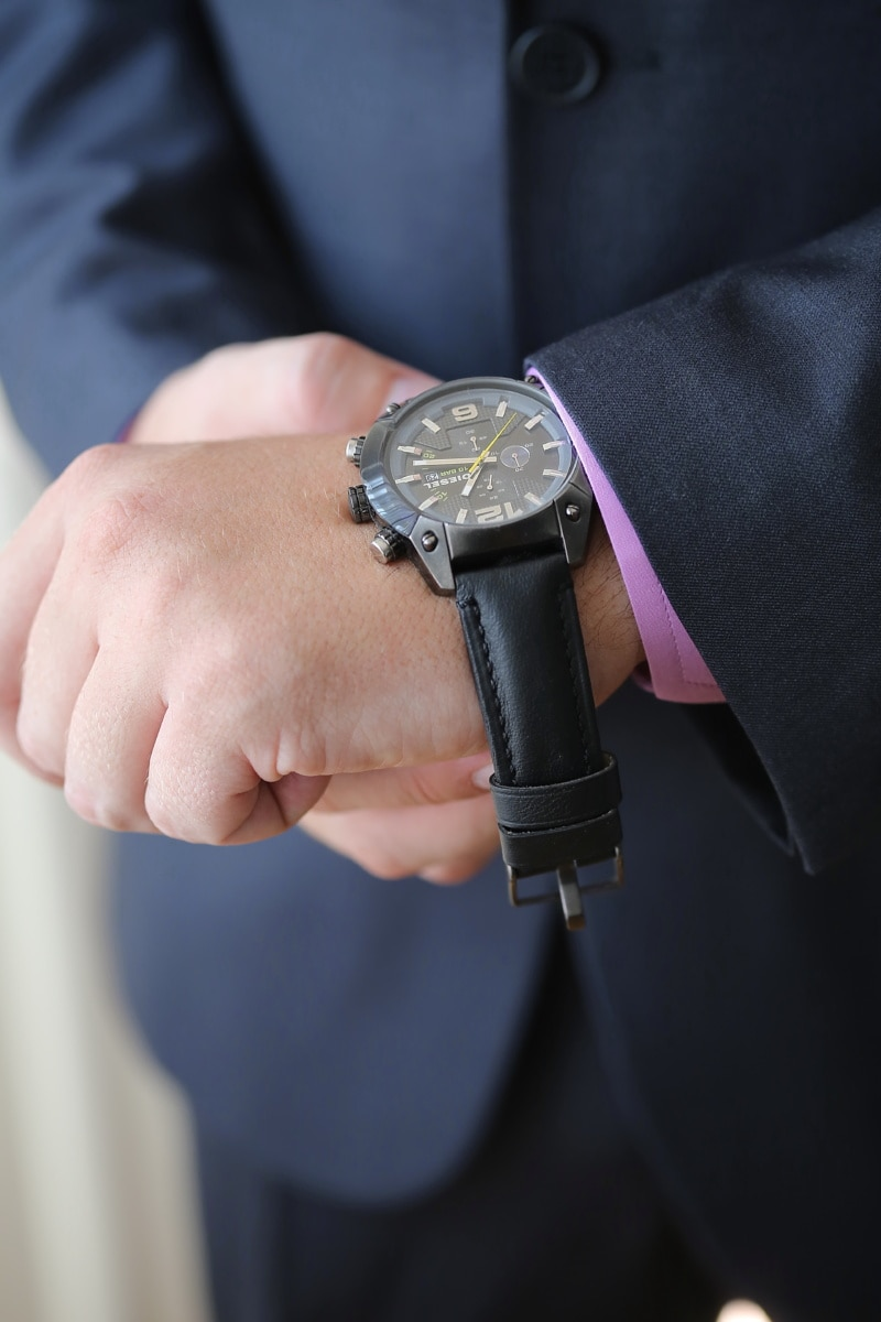 svart, armbandsur, affärsman, tid, herre, man, spänne, hand, fästelementet, enhet