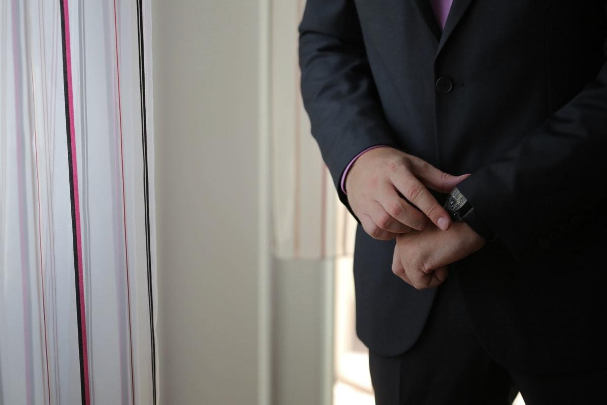 montre à bracelet, homme d'affaire, mains, costume, gentilhomme, gens, homme, Portrait, mariage, à l'intérieur
