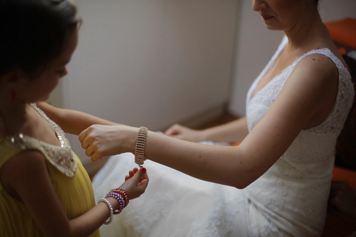 Armband, Gold, Braut, hübsches mädchen, Schmuck, junge Frau, Perle, Familie, Hochzeit, Frau