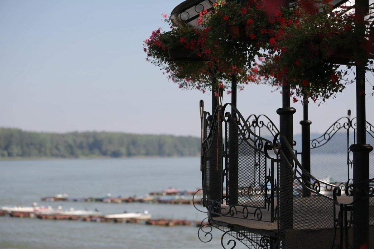fence, balcony, handmade, cast iron, pier, boats, dock, park, Danube, daylight