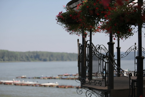 fence, balcony, handmade, cast iron, pier, boats, dock, park, Danube, daylight