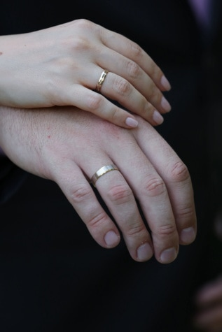 hand, woman, man, finger, rings, gold, wedding ring, skin, wedding, tissue