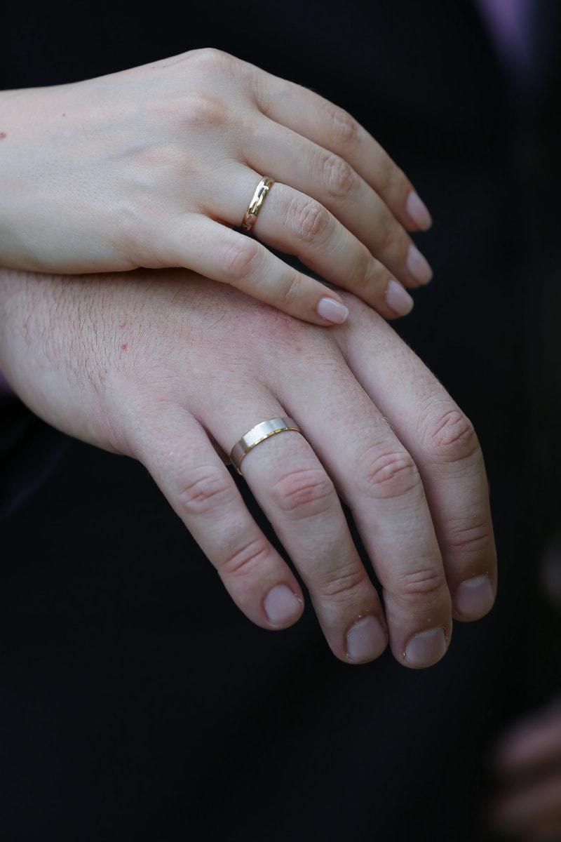 Hand, Frau, Mann, Finger, Ringe, Gold, Ehering, Haut, Hochzeit, Gewebe