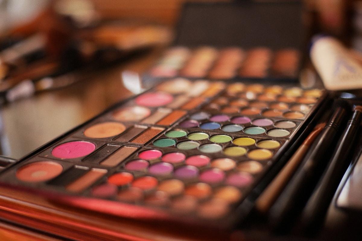 Kosmetik, Farben, aus nächster Nähe, bunte, Make-up, Pulver, Farbpalette, Farbe, Mode, Pinsel