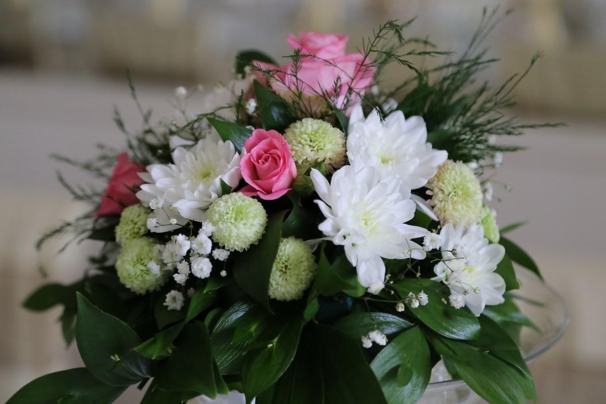 white flower, close-up, bouquet, crystal, decoration, flower, flower bud, green leaves, handmade, vase