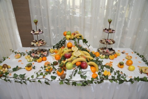buffet, biscuits, banquet, fruits, dessert, agrumes, table, décoration, feuille, Design d'intérieur